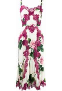 Dolce & Gabbana Vestido Com Renda E Aplicação De Rosa - Branco