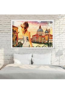 Quadro Love Decor Com Moldura Entardecer Em Veneza Branco - Médio