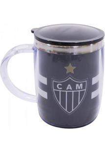Caneca Térmica Arredondada Com Tampa 450Ml Atlético Mineiro - Unissex