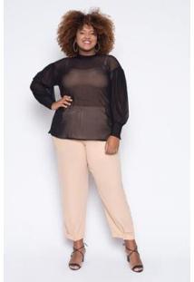 Blusa Almaria Plus Size Alt Brand Tule Feminina - Feminino-Preto