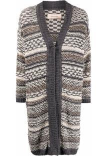 Gentry Portofino Stripe-Knit Cardigan - Cinza