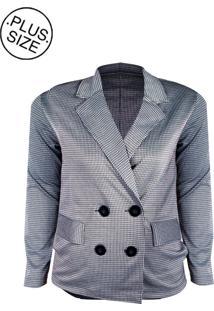 Blazer Linda D+ Transpassado Plus Size Preto/Branco