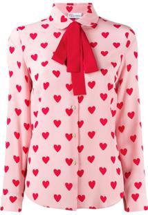 Red Valentino Blusa Com Estampa De Coração - Rosa