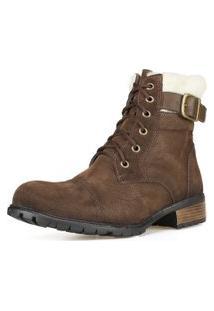 Bota Casual Ankle Boot Cano Curto Dhatz Confortável Inverno Marrom