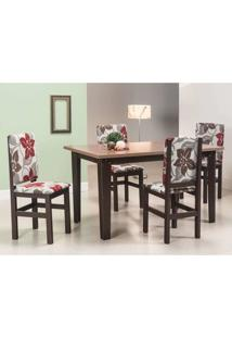 Conjunto De Mesa Com 4 Cadeiras Leal Tabaco E Floral