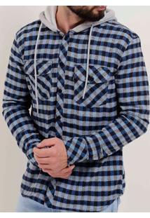 Camisa Flanela Manga Longa Masculina Nicoboco Azul/Cinza