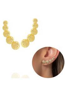 Brinco Ear Cuff Rosas Dourado