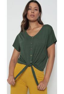 Blusa Com Amarração - Verde Militar - Dedikadedika