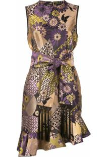 Josie Natori Vestido Assimétrico Com Jacquard Loral - Azul