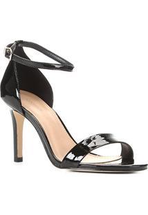 Sandália Shoestock Salto Alto Verniz Feminina - Feminino-Preto