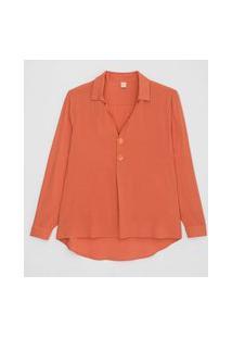 Camisa Manga Longa Em Viscose Com Botõs Diferenciados | Marfinno | Laranja | P