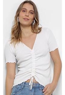 Blusa Pérola Amarração Feminina - Feminino-Branco