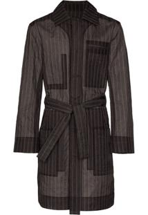 Craig Green Trench Coat De Organza Com Risca De Giz - Cinza