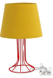 Abajur Torre Dome Amarelo Mostarda Com Aramado Vermelho