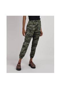 Calça Feminina Jogger Cargo Cintura Alta Estampada Camuflada Verde Militar