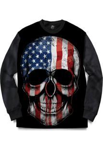 Blusa Bsc Usa Skull Full Print - Masculino-Preto