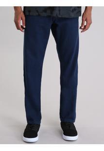 Calça Jeans Reta Com Algodão + Sustentável Azul Escuro