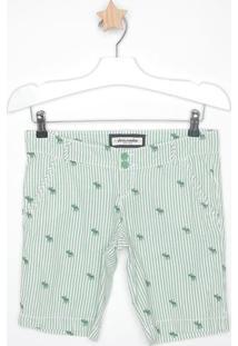 Short Texturizado Listrado Com Bordados - Verde & Brancomandi