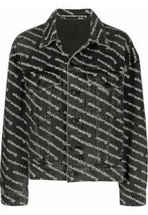 Alexander Wang All-Over Logo-Print Jacket - Preto