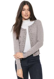 Cardigan Facinelli By Mooncity Tricot Strass Cinza