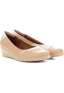 Sapato Couro Usaflex Anabela Salto Baixo Feminino - Feminino-Nude