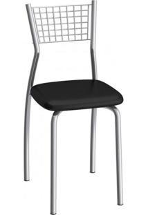 Cadeira De Aço Florença C121 Compoarte Cromado/Preto