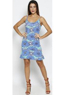 Vestido Floral Com Recorte Vazado - Azul & Verde Água