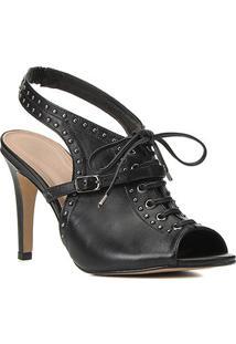 Sandal Boot Couro Shoestock Metais Salto Alto - Feminino-Preto