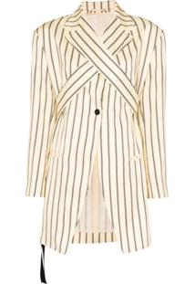 Unravel Project Stripe Wrap-Front Blazer - Neutro