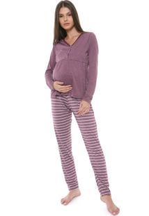 Pijama Laibel Listrado Bordô