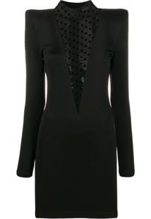 Balmain Vestido Com Recorte Translúcido - Preto