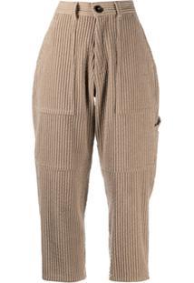 Ami Paris Calça Cropped De Veludo Cotelê - Marrom