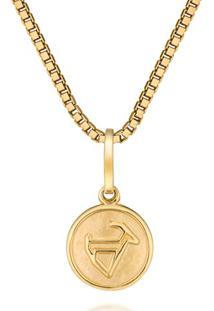 Pingente Medalha Ouro Amarelo Capricórnio