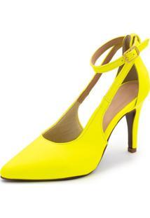 Sapato Scarpin Aberto Salto Alto Fino Em Napa Amarela Neon - Kanui