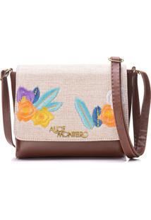 Bolsa Alice Monteiro Com Tampa Bordado Floral - Marrom