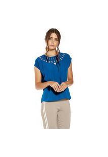 Blusa Crepe Feminina Endless Azul