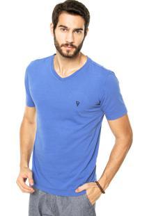 Camiseta Vr Logo Bordado Azul
