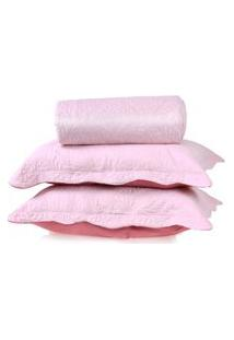 Kit Cobre Leito Ultra Lisse Queen + Porta Travesseiros Rosa Bebe Matte - Bene Casa