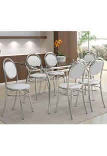 Mesa 379 Com Vidro Incolor Cromada Com 6 Cadeiras 190 Branca Carraro