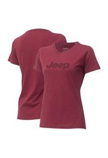 Camiseta Fem. Jeep Logo - Vinho