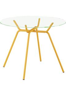 Mesa 1527 Vidro Móveis Carraro Amarelo