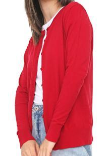 Cardigan Fiveblu Tricot Liso Vermelho - Kanui