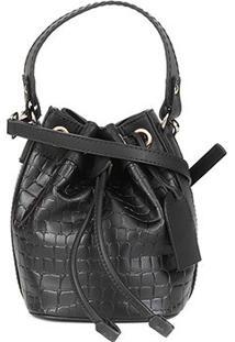 Bolsa Shoestock Bucket Mini Croco Feminina - Feminino-Preto