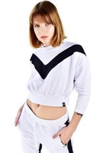 Blusa Cropped Moletom Manga Longa Brohood Listra Feminina - Feminino-Branco