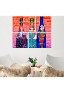 Conjunto De 4 Telas Decorativas Em Canvas Garrafas Pintadas Único Love Decor - Kanui