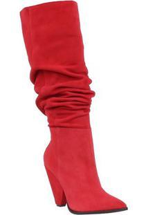 Bota Over The Knee Em Couro- Vermelhaluiza Barcelos