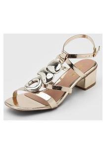 Sandália Amber Apliques Dourada