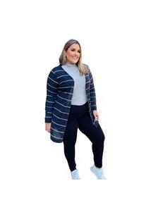 Cardigan Feminino Mac-Lu Listrado Linha Premium Cinza Silver