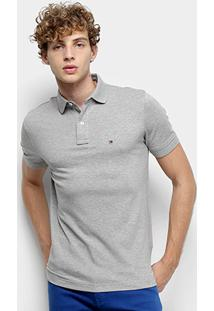 Camisa Polo Tommy H. Piquet Regular Fit Clássica Masculina - Masculino-Cinza