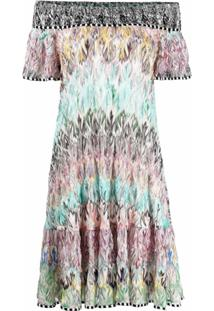 Missoni Vestido De Seda Com Estampa Abstrata - Azul
